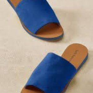 Soft Surroundings Anytime Blue Suede Slides Shoes